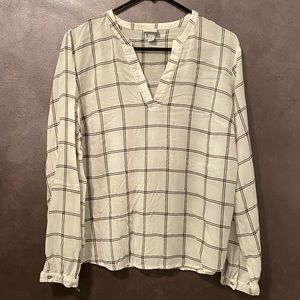 A New Day plaid long sleeve blouse large